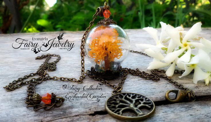 Collana albero della vita fatto a mano in miniatura con materiali naturali arancione, by Evangela Fairy Jewelry, 15,00 € su misshobby.com