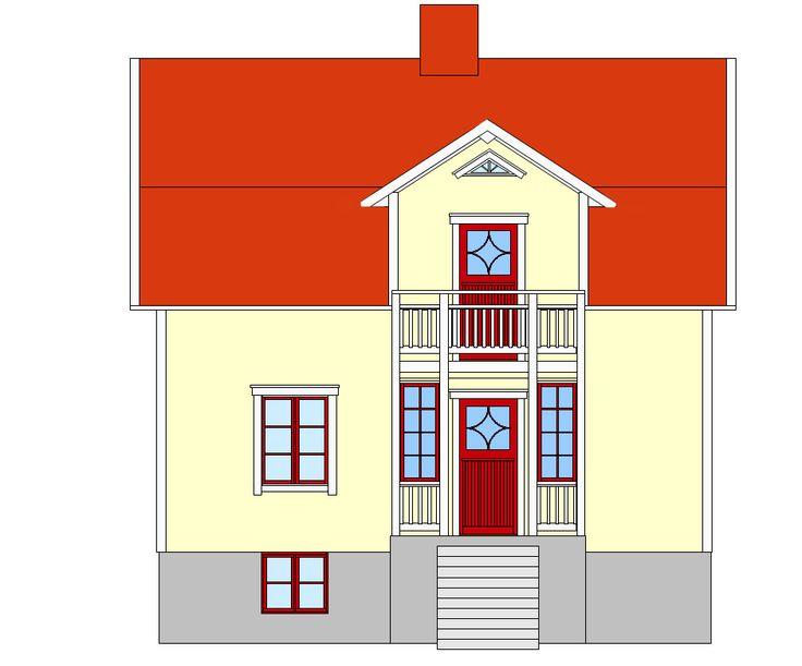 gult hus röd veranda - Google Search