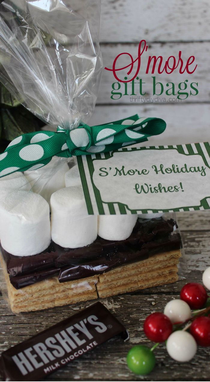 Christmas Smores Gift Bags with FREE Holiday Printable Tags - f you are looking for an inexpensive gift idea for friends or even teachers, then these Christmas Smores Gift Bags (which include FREE holiday printable tags) are perfect!