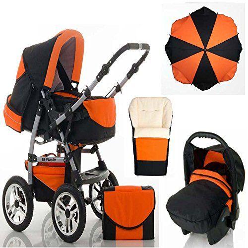 CALIDAD Sistemas de viaje 5 en 1 FLASH: Carrito + Silla de paseo + Asiento del coche + Sombrilla + Saco - Todo incluido - Mucho accesorios de color Negro-Naranja  #carricochesbebe