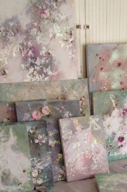 Impressionist Artist, Laurence Amelie - beautiful colors. She is amazing. The Daughter to two Abstract artists, Does her own thing with these soft Impressionism florals. Im in love with her creations. What an amazing addition to any room or even a little girls nursery.