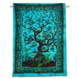 """Decorative Cotton Tapestry Tree Of Life printed Wall Bed Spread Twin Size 82"""" X 53"""""""