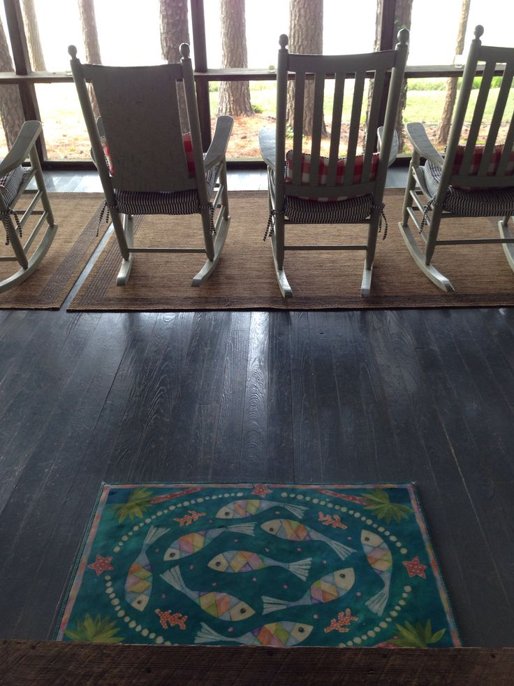 """""""Fish and Pearls"""" Floorcloth on the lake porch!"""