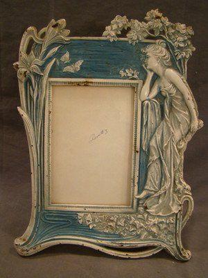Antique ART NOUVEAU Era CAST IRON Figurative LADY  FLOWER | JV
