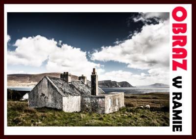 #obraz w ramie #drewnianej. Dom na wyspie.