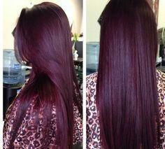 Deep plum, burgundy hair color