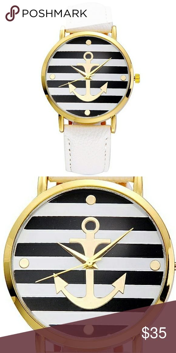 STUNNING WOMENS NAUTICAL ANCHOR QUARTZ A STUNNING WOMENS NAUTICAL ANCHOR QUARTZ WATCH WITH WHITE PU LEATHER BAND. SM LUXURY Accessories Watches