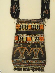 Ojibwe shoulder pouch depicting two thunderbirds in quillwork, Peabody Museum Harvard
