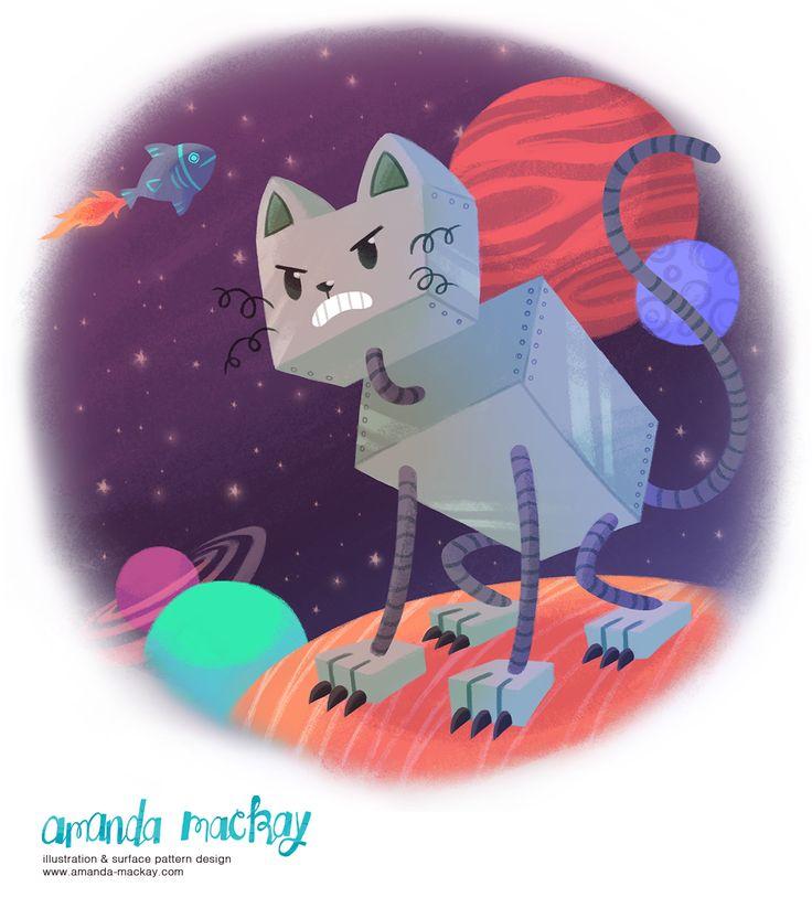 Robot Cat in Space - by Amanda MacKay Illustration