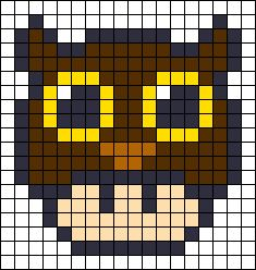 Owl Mushroom perler bead pattern. cross stitch pattern... Maybe even a quilt pattern too, just go all out!
