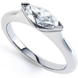 0.58cts East-West Marquise Diamond Ring. Unique ring design with a simple sideways setting – revealing the beautiful slender profile and brilliance of the Marquise cut diamond. Created in 18ct white gold.