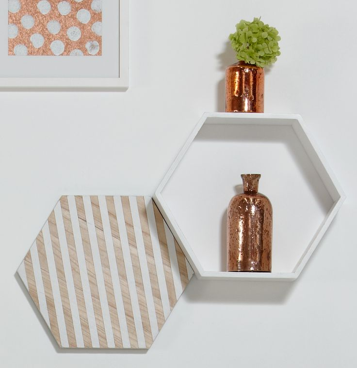 White & copper magic | wall shelf, wall art & funky copper vases from Me & My Trend | www.meandmytrend.com