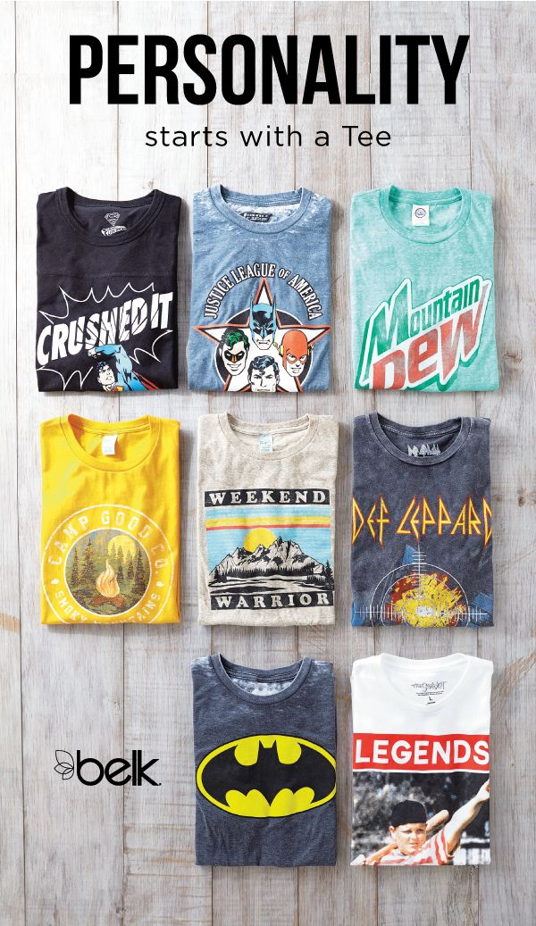 He'll love showing off his sense of humor or making a statement with graphic t-shirts, a summer essential. Super heroes, funny sayings, rock bands and so much more – they're all pictured on our assortment of cool tees. Shop men's t-shirts in stores or at belk.com.
