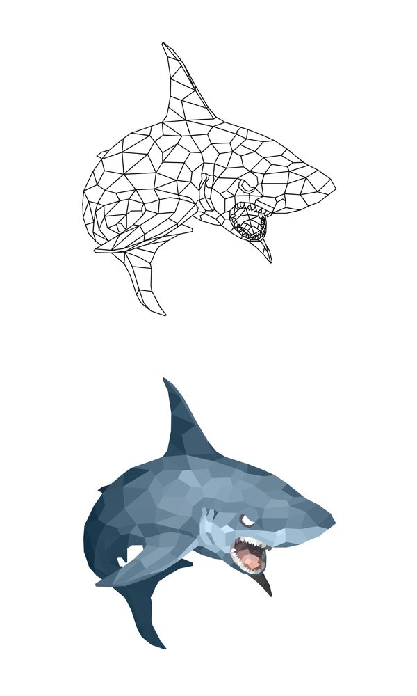 #Shark #Polygon #Illust #Artwork