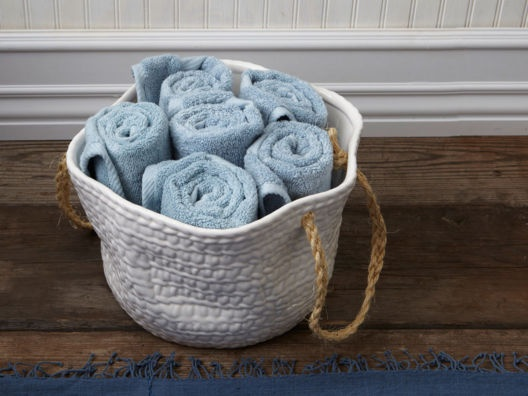 Rope Handled Ceramic Basket from Lulu DK >> Love this for my bathroom!