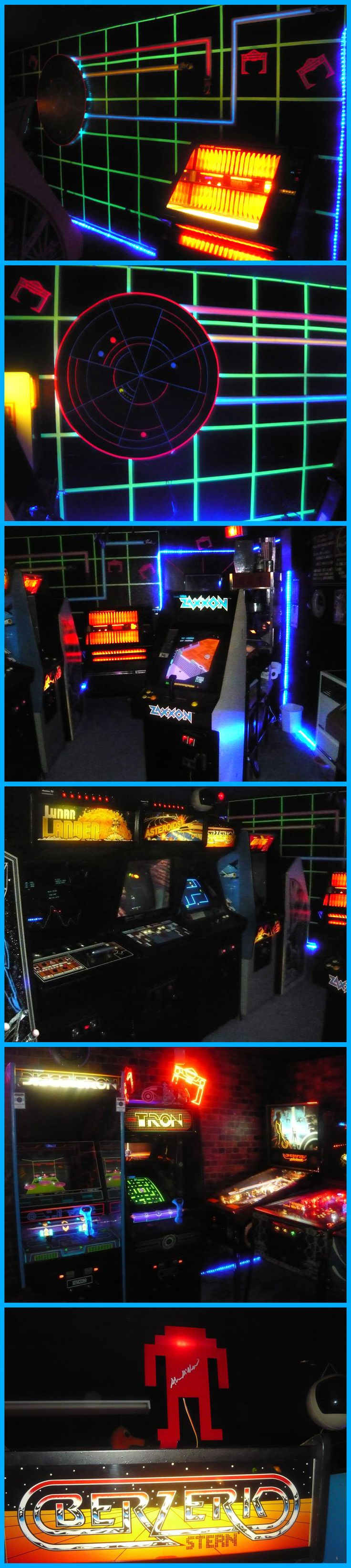Tron inspired Arcade Gaming Room complete with light cycle wall mural - via SpaceWar on the arcade-museum.com forums