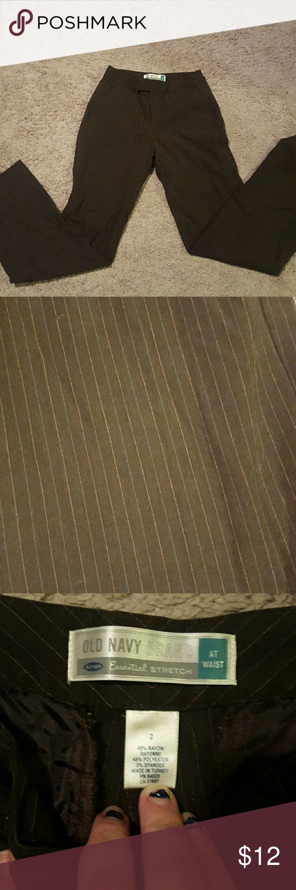 Brown old navy dress pants Size 2 old navy dress pants. Brown with pink and grey pinstripes. Good used condition Pants Trousers