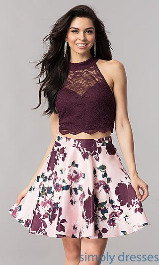 Two-Piece Homecoming Dress with Short Print Skirt