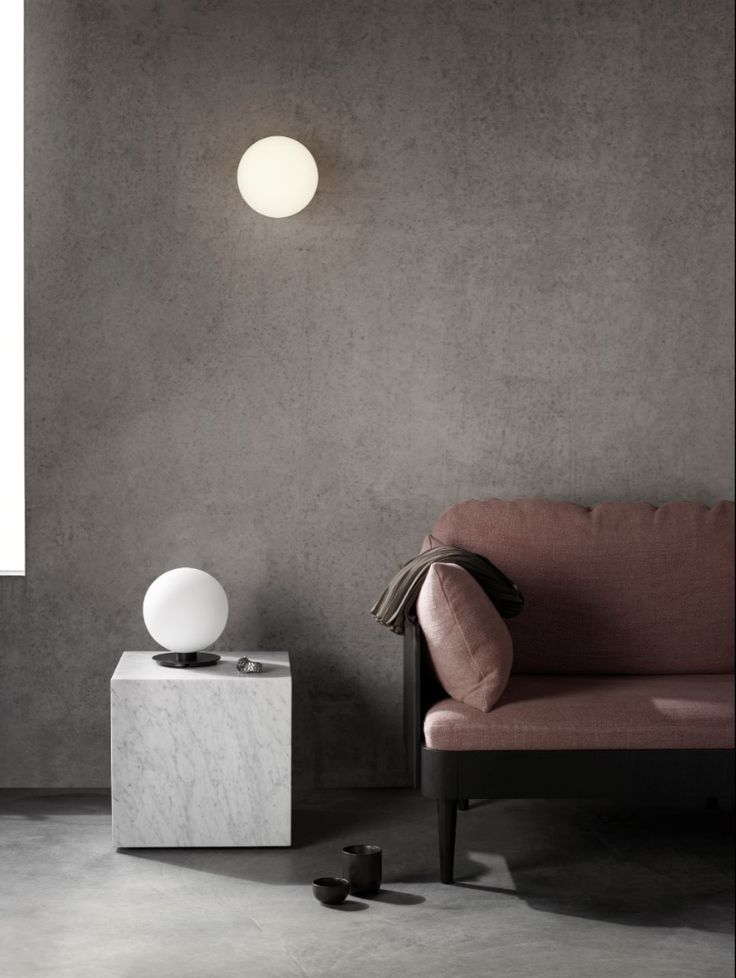 MENU | TR Bulb Wall and Table lamp by Tim Rundle, Plinth Marble Table by Norm Architects and Godot Sofa by Iskos-Berlin, Shot by Mikkel Rahr Mortensen