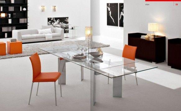 Dining room Cattelan Italia Orange glass Italy