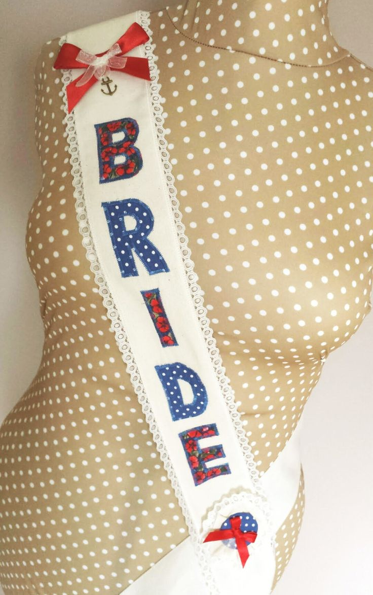 Hen Party Fabric Sash – Red and Navy