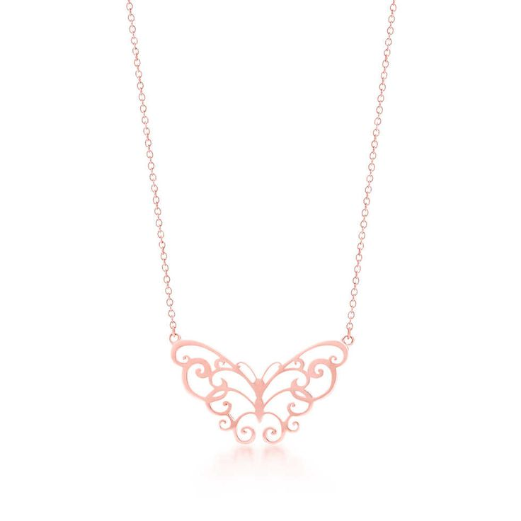 TIFFANY ENCHANT® Butterfly Pendant The fanciful scrolls of this design are based on 19th-century iron gates. Pendant in RUBEDO® metal