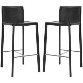 safavieh midcentury 30inch park black leather bar stool set of 2 by safavieh