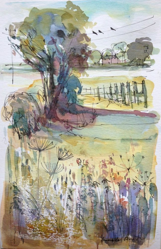 Original Water Colour Painting - Birds on a Wire - Signed Annabel Burton .