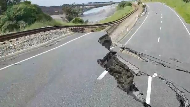 New video shows just how damaged the road near Kaikoura is - it literally