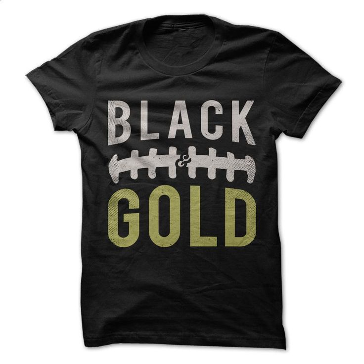 Black and Gold Football T Shirts, Hoodies, Sweatshirts - #sleeveless hoodie #custom shirt. CHECK PRICE => https://www.sunfrog.com/Sports/Black-and-Gold--Football.html?id=60505