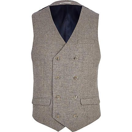 Light brown double breasted waistcoat - waistcoats - suits - men