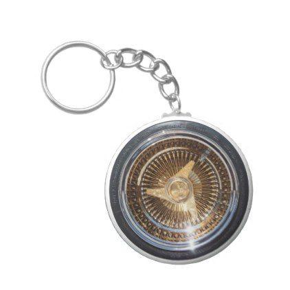 Lowrider Gold Wire Wheels Keychain - accessories accessory gift idea stylish unique custom