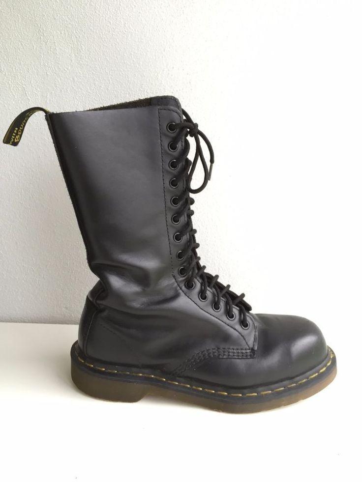 2cc2b5e327ee69 Dr DOC Martens 14 Eye Cap Steel Toe Boot Black LEATHER US Men\u0027s 7 UK 6  ...