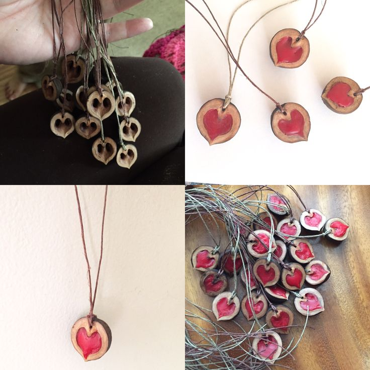 Black Walnut Shell Heart Necklace Valentine Tutorial