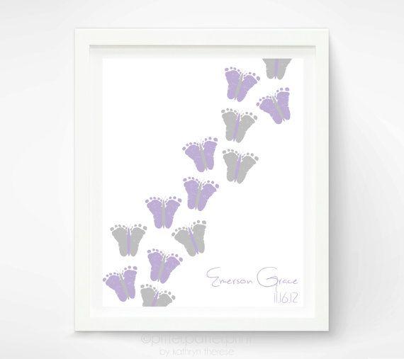 Baby Girl Purple Gray Nursery Decor - Baby Footprint Butterfly Nursery Art - Personalized Lavender Nursery Art Print Poster - Baby Wall Art
