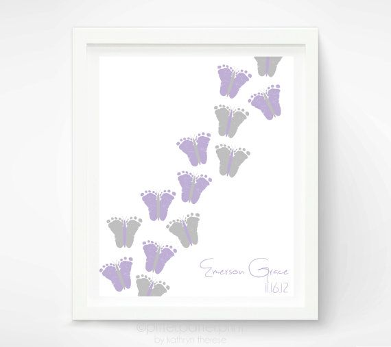 Baby Girl Purple Gray Nursery Decor - Baby Footprint Butterfly Nursery Art - Personalized Lavender Nursery Art Print Poster - Baby Wall Art