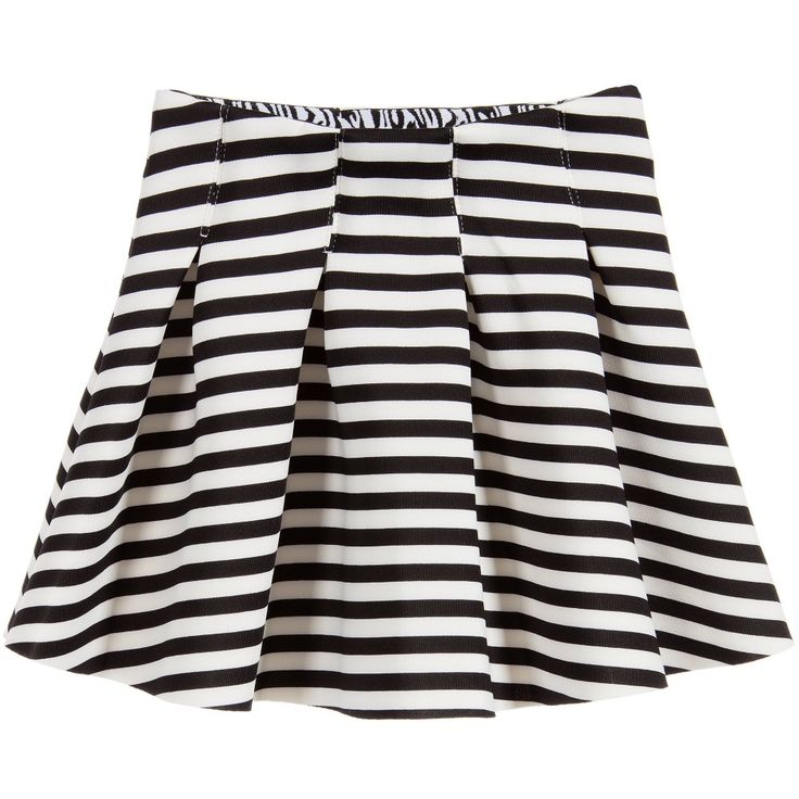 Girls black and white striped neoprene skirt by Molo. The waistband is slightly elasticated for a more comfortable fit. It flares from the waist in large pleats and has a soft, zebra print lining on the waistband. This item has dual sizing, it could be large fitting on an average 3 year old, and true to size on an average sized 4 year old. Model: Height 134cm (average 9 year) Size of skirt shown in the photo: 8 years