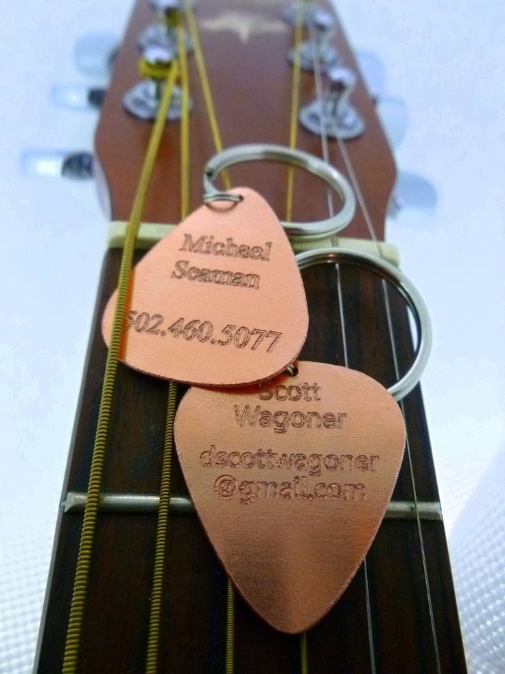 Engraved Copper Guitar Pick Keychain - Name Tag - Id Tag - Luggage Tag. $12.75, via Etsy.