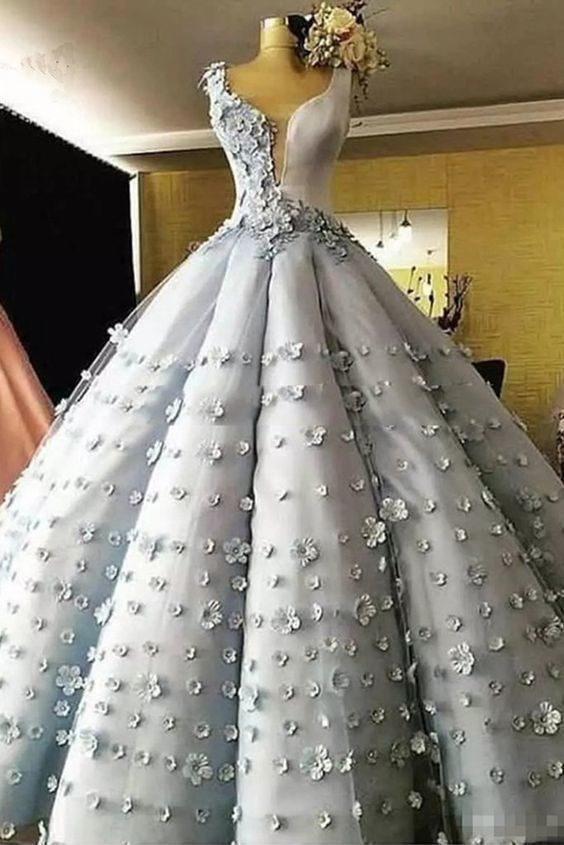 4b593d445a Princess gray tulle 3D flower lace long puffy ball gown, long formal ...