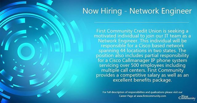 We Re Hiring We Are Currently Seeking A Network Engineer To Join