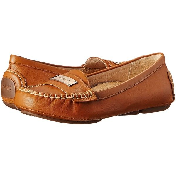 VIONIC Sydney Flat Driver Women's Flat Shoes ($80) ❤ liked on Polyvore featuring shoes, flats, tan, breathable shoes, flat shoes, tan flats, vionic and flexible shoes
