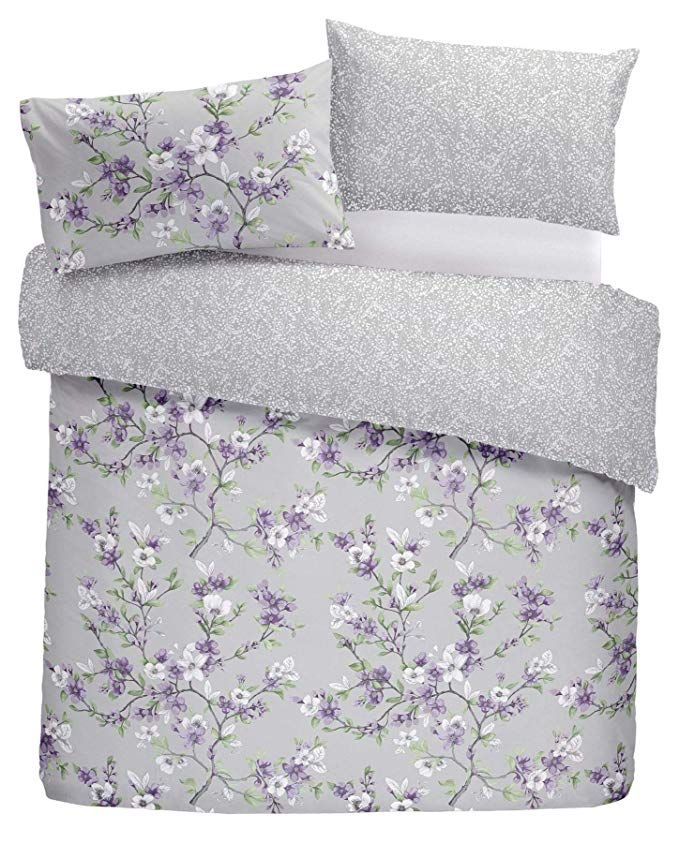 Amazon Com Hand Drawn Style Floral Flowers Lilac Usa Queen Size