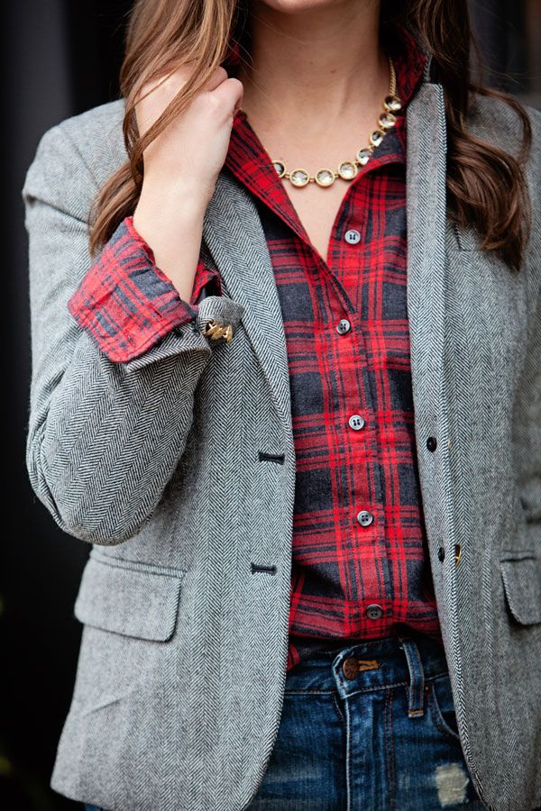 New England Classic Style | Grey tweed blazer | Red plaid shirt | J.Crew