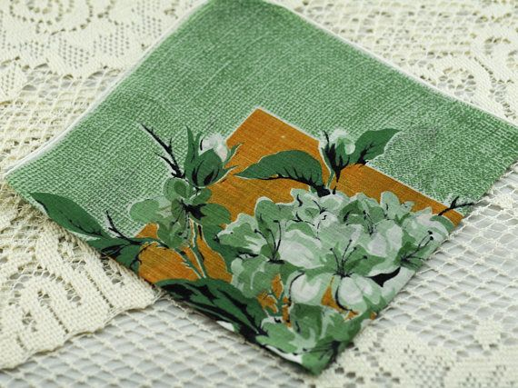 Vintage Hankie, Sea Green Background, White Green Flowers,  Sew, Quilt, Frame, Gift  #A-39