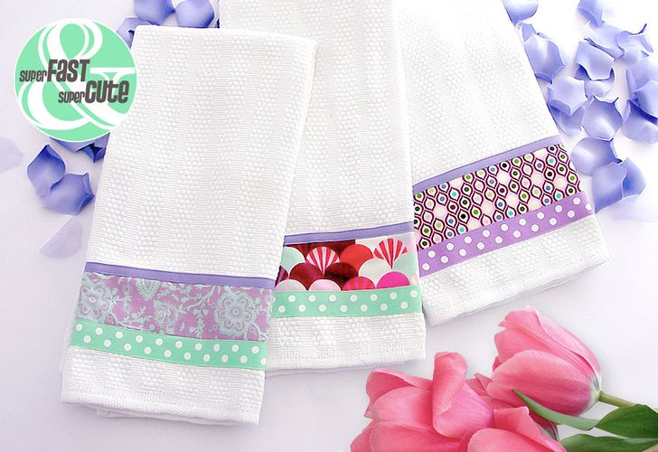 Kitchen Towels with Ribbon and Fabric Borders ... sew4home