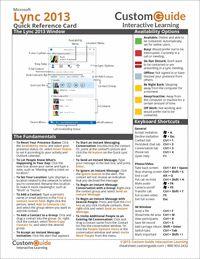 """Microsoft Lync 2013 -- Free Quick Reference Card""  This Microsoft Lync"