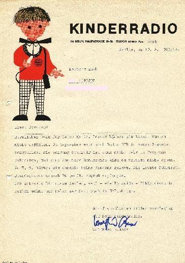 """DDR Museum - Museum: Objektdatenbank - Brief vom """"Kinderradio"""""""