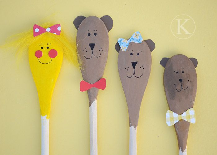 Goldilocks and the 3 Bears spoon puppets.