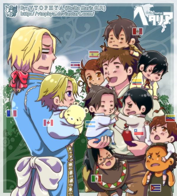APH-Familia numerosa- by vtophya.deviantart.com on @deviantART - It's in my head-canon as well that Antonio fathered (literally - not adopted) a lot of kids in the Americas. As for Francis...the original piece had a lot of people commenting about African colonies, but that was the Second French Empire, in the 19th century. Since this is referencing the First French Empire (i.e. the one that includes Canada), that's a moot point, but I would have liked to see some Caribbean OCs added as well.