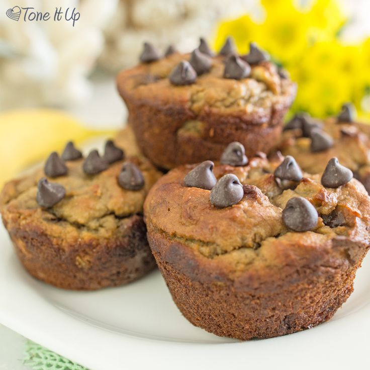 Chocolate Banana Bread Muffins     3 bananas, mashed     ½ cup plain Greek yogurt (or almond yogurt)     1 egg     1 Tbsp unsweetened almond milk     ¼ cup honey or maple syrup     1 cup almond meal     4 scoops vanilla Perfect Fit Protein     1 tsp baking soda     ¼-½ cup dark chocolate chips (or cacao nibs!)